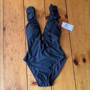 Michael Kors gunmetal bathing suit Cruise 2020